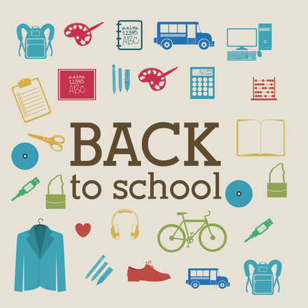 back to school over beige background vector illustration