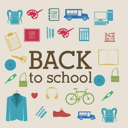 speakers desk: back to school over beige background vector illustration