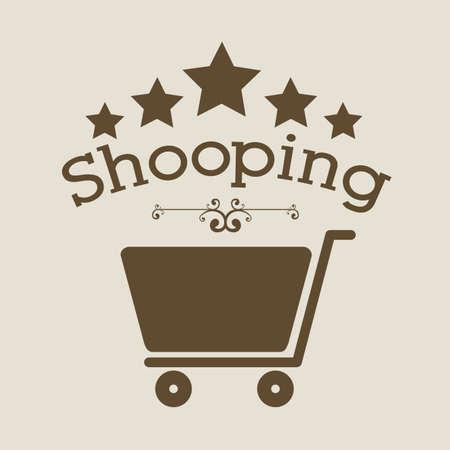 trolly: shopping design over beige background vector illustration