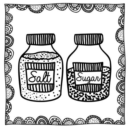 palitra: salt and sugar drawing over white background vector illustration