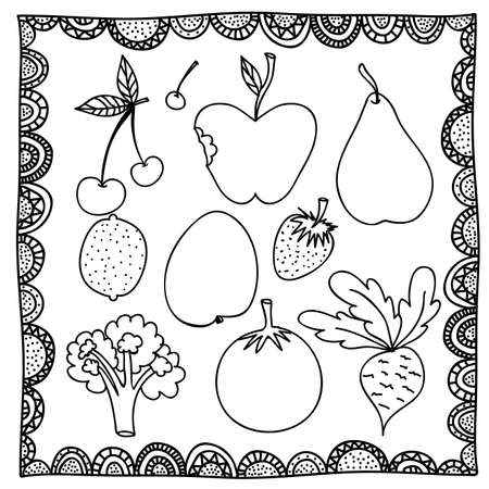 berryes: vegetables drawing over white background vector illustration Illustration