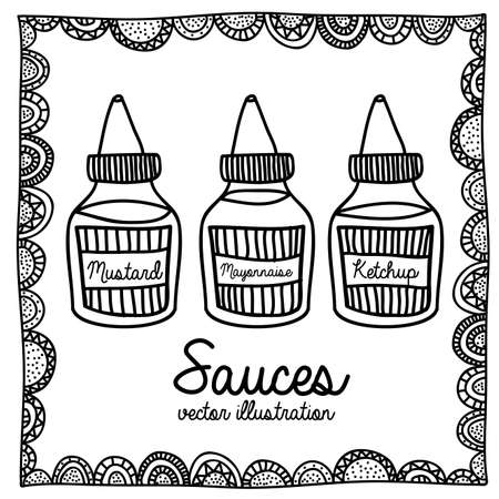 sauces drawing over white background vector illustration