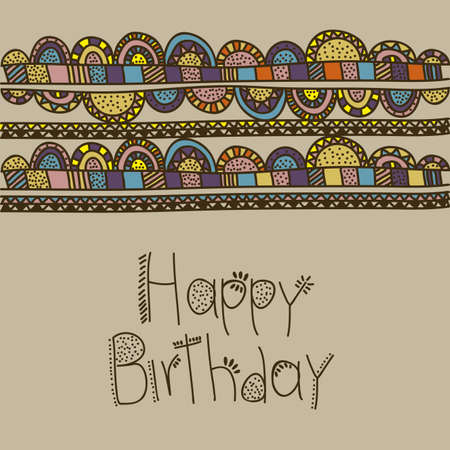 palitra: happy birthday drawing over beige  background vector illustration