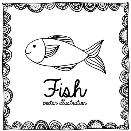 palitra: fish drawing over white background vector illustration Illustration