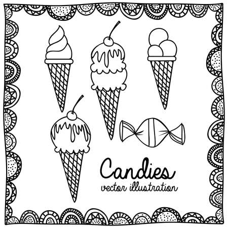 palitra: candies drawing over white background vector illustration