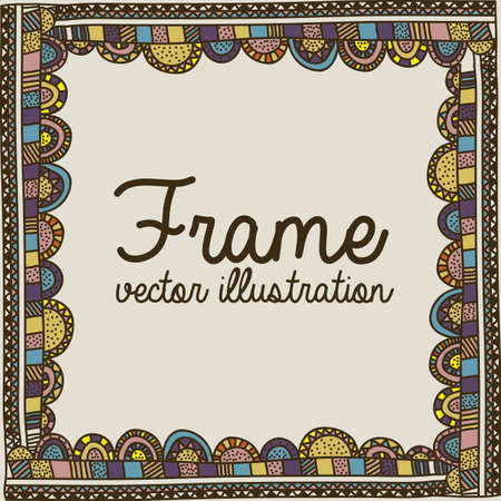 palitra: frame drawing over beige  background vector illustration
