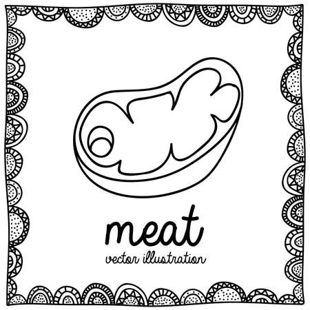 palitra: meat drawing over white background vector illustration  Illustration