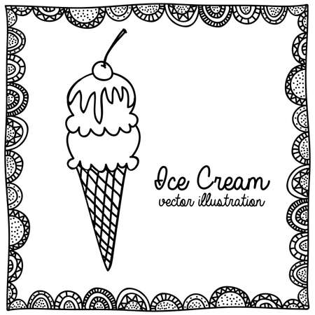 palitra: ice cream drawing over white background vector illustration Illustration