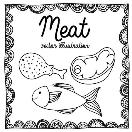 palitra: meat drawing over white background vector illustration