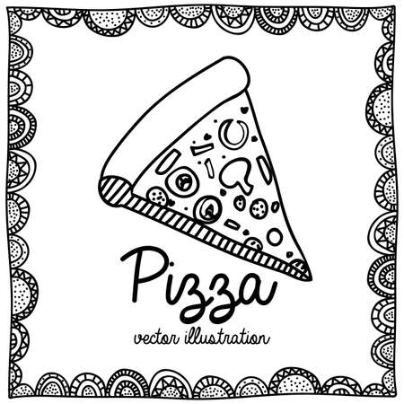 pizza drawing over white background vector illustration  Vector