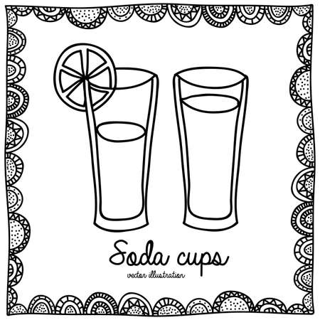 palitra: soda cups drawing over white background vector illustration Illustration