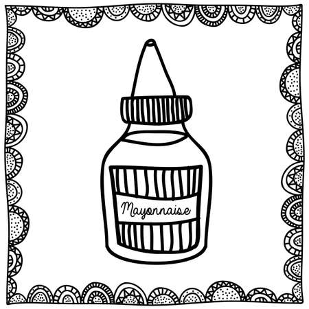 mayonnaise: mayonnaise drawing over white background vector illustration