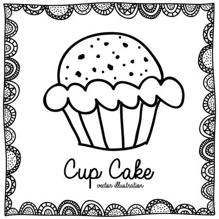 palitra: cup cake drawing over white background vector illustration
