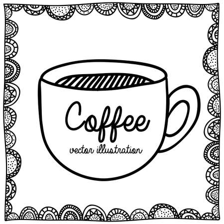 palitra: coffee drawing over white background vector illustration