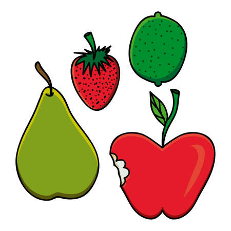 palitra: fruits drawing over white background vector illustration