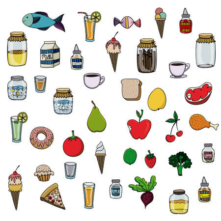palitra: food drawing over white background vector illustration Illustration
