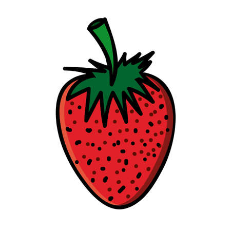 palitra: strawberry drawing over white background vector illustration