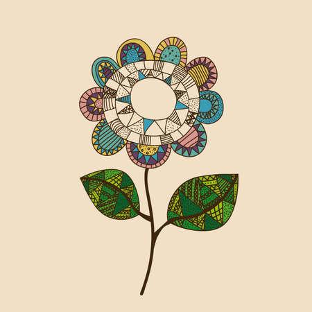 flower drawing over pink  background vector illustration Vector