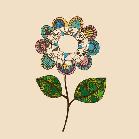 palitra: flower drawing over pink  background vector illustration Illustration