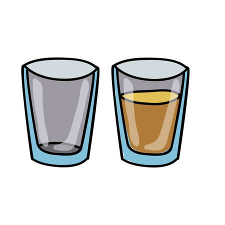 glass half full: drinks drawing over white background vector illustration