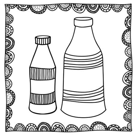 palitra: bottles drawing over white background vector illustration