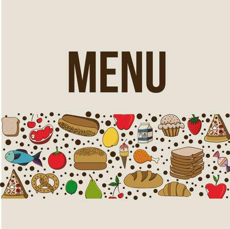 menu design over beige background vector illustration  Vector