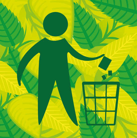 eco recycle over,green background vector illustration