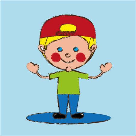 flushed: Happy man over blue background vector illustration Illustration