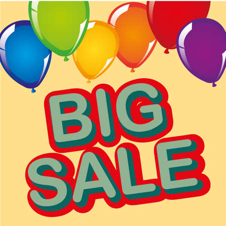 big sale with  balloons isolated over pink background. vector illustration Vector