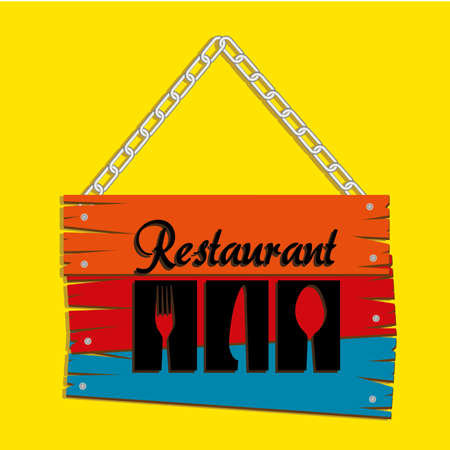Restaurant label over yellow background  vector illustration Vector