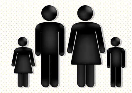 familien: Familie Liebe �ber gepunkteten Hintergrund, Vektor-Illustration