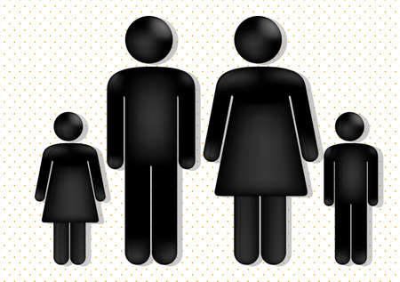 females: family love over dotted background, vector illustration