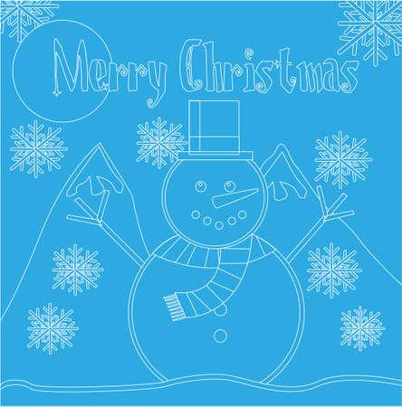 snowman design over blue background vector illustration   Illustration