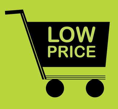 trolly: shopping low price design over green background vector illustration