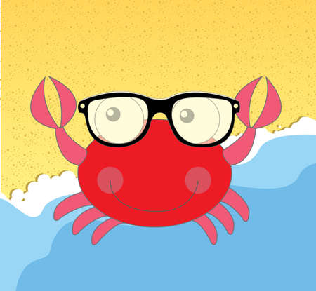 crab cartoon: red crab cartoon isolated over beach background. vector illustration Illustration