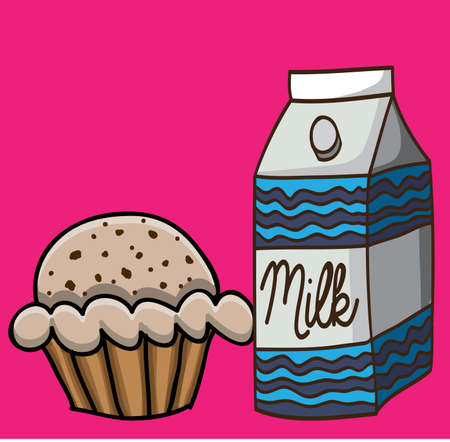milk and cupcake  drawing over pink background vector illustration Vector