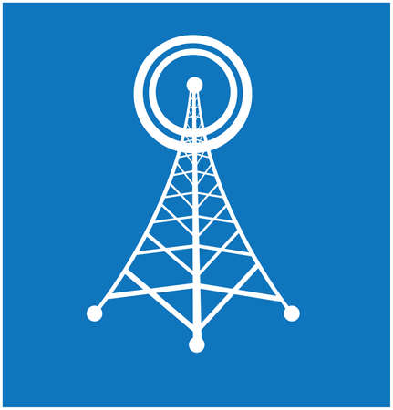 tower with radio isolated over blue background. vector illustration Vector