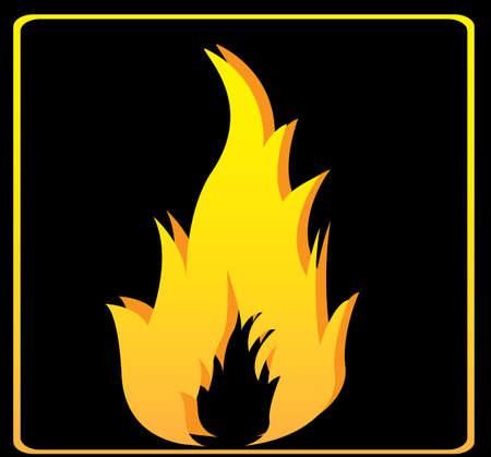 flames signal over black background vector illustration    Vector