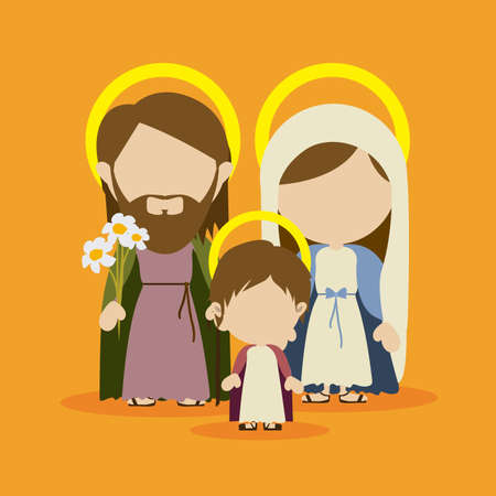 holy family  design over yellow background vector illustration  Vectores