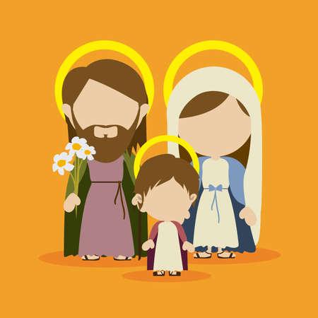 portal de belen: dise�o de la familia santa sobre fondo amarillo ilustraci�n vectorial Vectores