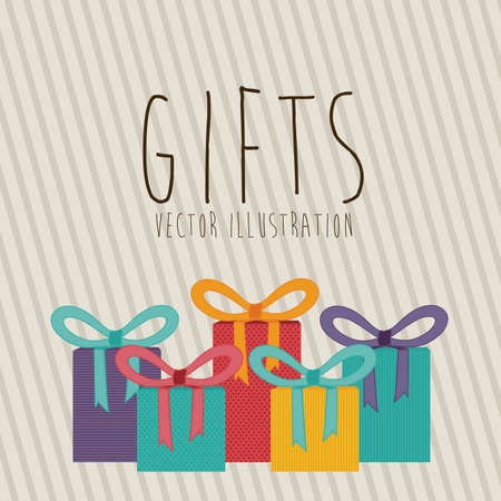 gifts design over lineal background vector illustration Stock Vector - 22894751
