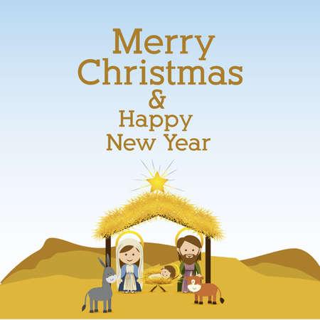 merry christmas  design over landscape background vector illustration Vector