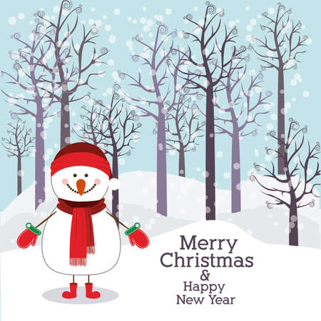 merry christmas  design over landscape background vector illustration Vector
