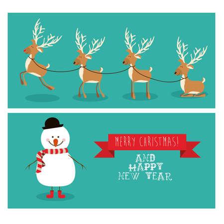 chunk: merry christmas  design over blue  background vector illustration
