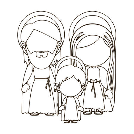 holy family: holy family  over white background vector illustration