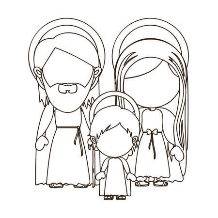 portal de belen: sagrada familia sobre fondo blanco ilustración vectorial