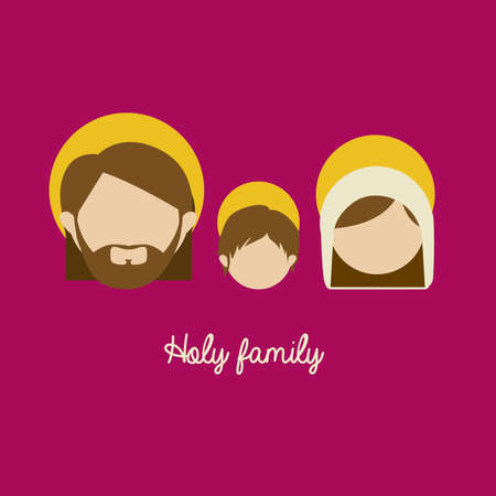 holy family design over purple background vector illustration   Vectores