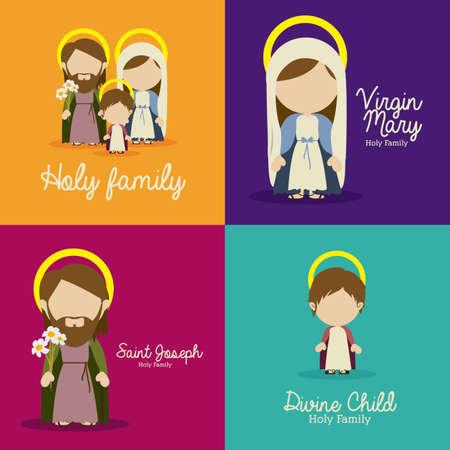 holy family: manger design over colorful background vector illustration