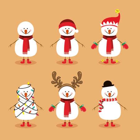 conception de bonhomme de neige sur fond illustration vectorielle