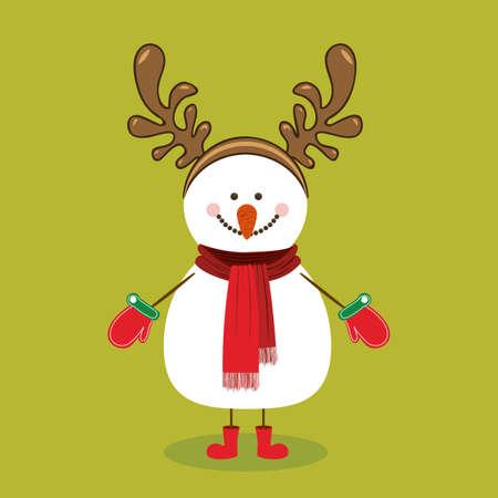 snowman design over green background vector illustration Vector